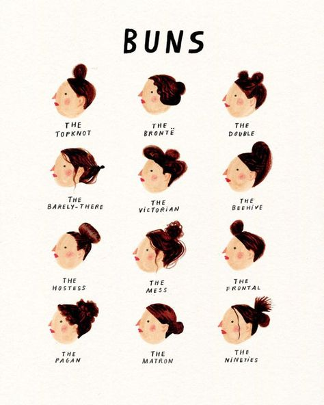 Illustrations of womens with hair buns   Nina Cosford Shop   We love these! #illustrationeart