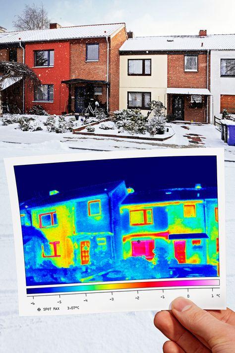Thermografie – Bei einer Gebäudethermografie erfasst die Wärmebildkamera die Wärmestrahlung eines Gebäudes und stellt sie als sichtbares Bild dar. Diese Bilder bezeichnet man als Thermogramme.  Bauen, Energiewende, Wärmewende, Sanieren, Renovieren, Altbau, Dach, Fassade, Gebäudehülle, Dämmung, EnEV, Fördermittel, Wärmedämmung, PU, Polyurethan, Dämmstoff, Dachsanierung, Energieberater, Energieberatung, Bauphysik, Thermografie, IVPU, PUonline