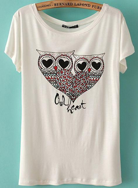 White Short Sleeve Owl Heart Print T Shirt Owl Clothes Print T Shirt Heart Print