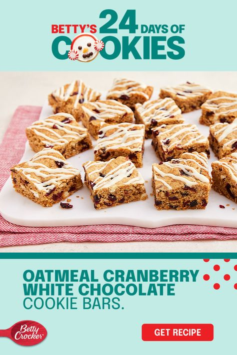 Add a spark of fun to your classic oatmeal cookie recipe using white chocolate, cranberry and Betty Crocker Oatmeal Cookie Mix! The secret is in the dried cranberries you'll add into the dough and the decadent white chocolate you'll drizzle over the top. Enjoy the looks of surprise when they're chosen from the cookie tray. You've just made oatmeal cookie bars cool again.