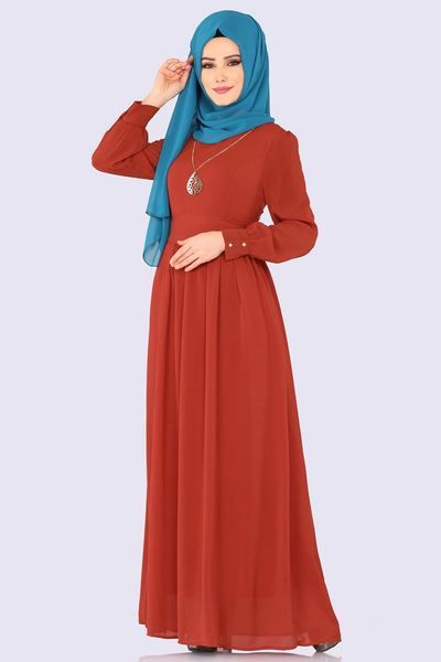 Modaselvim Elbise Kemerli Tesettur Elbise 3687 2mb205 Kiremit Moda Stilleri Basortusu Modasi The Dress