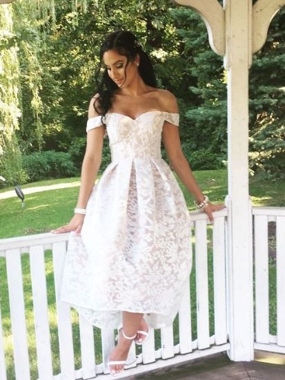 Off The Shoulder High Low White Lace Bridesmaid Dress Lace Bridesmaid Dresses White Bridesmaid Dresses White Lace Bridesmaid