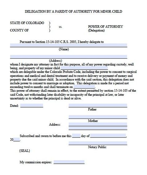 Free Minor Child Power Of Attorney Delegation Form Colorado Pdf