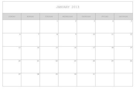 2013 Calendar to Print - simple/plain version