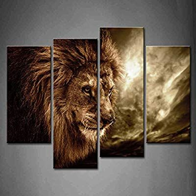 Amazon Com Firstwallart 4 Panel Wall Art Brown Fierce Lion Against Stormy Sky Painting The Picture Print Brown Wall Art Lion Wall Art Wall Art Canvas Painting