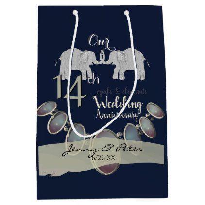 14th Wedding Anniversary Opals Elephants Navy Medium Gift Bag Zazzle Com 14th Wedding Anniversary Wedding Anniversary Wedding