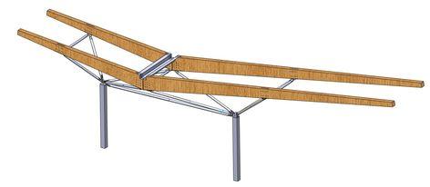 L'auvent est supporté par une succession de portiques supportés par des poteaux de 3 m de haut. Au-delà, la structure se ramifie avec des bielles bi-articulées tubulaires en acier. Cette structure métallique porte les poutres en bois lamellé-collé de la charpente de toiture.