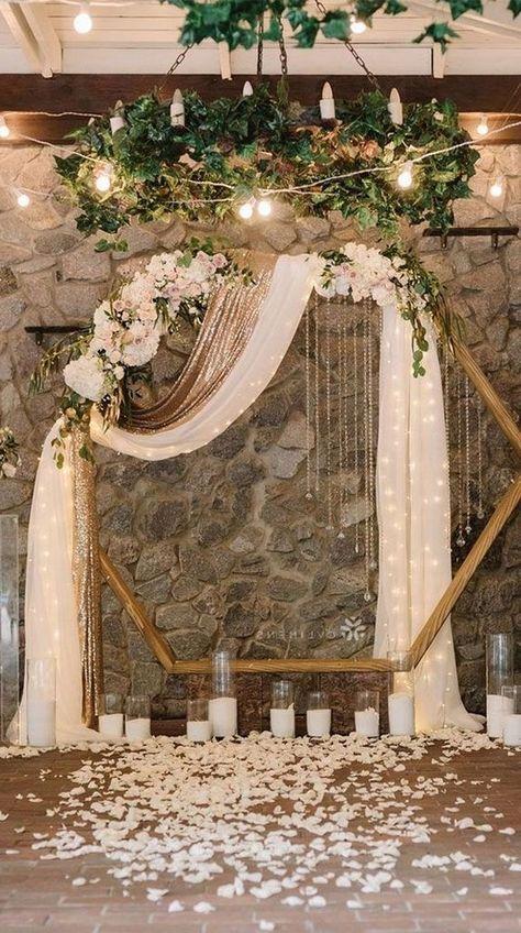 Hexagon wedding arch with neutral flower   geometric wedding ideas