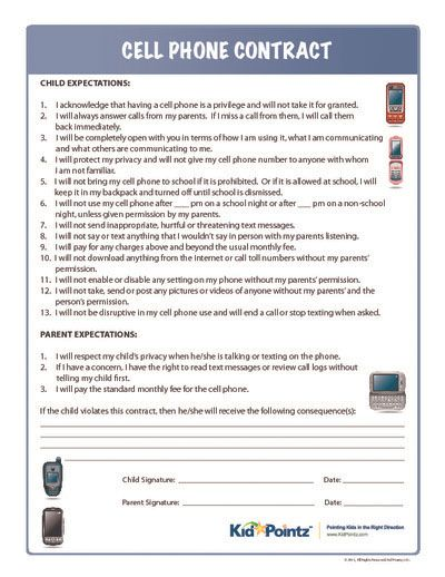 Cell phone contract kids This might be outdated by the time I - sample behavior contract