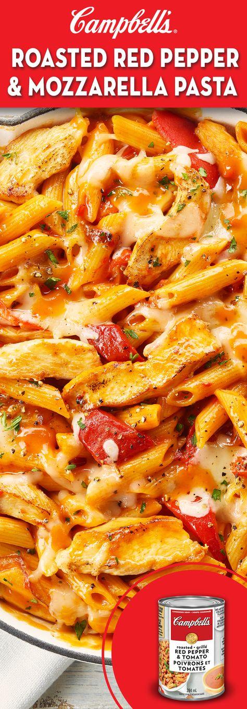Roasted Red Pepper & Mozzarella Pasta Recipe