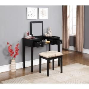 Linon Home Decor Black Bedroom Vanity Table with Butterfly ...