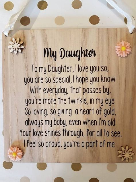 My Daughter Poem for Daughter To Our Daughter Gift for my | Etsy