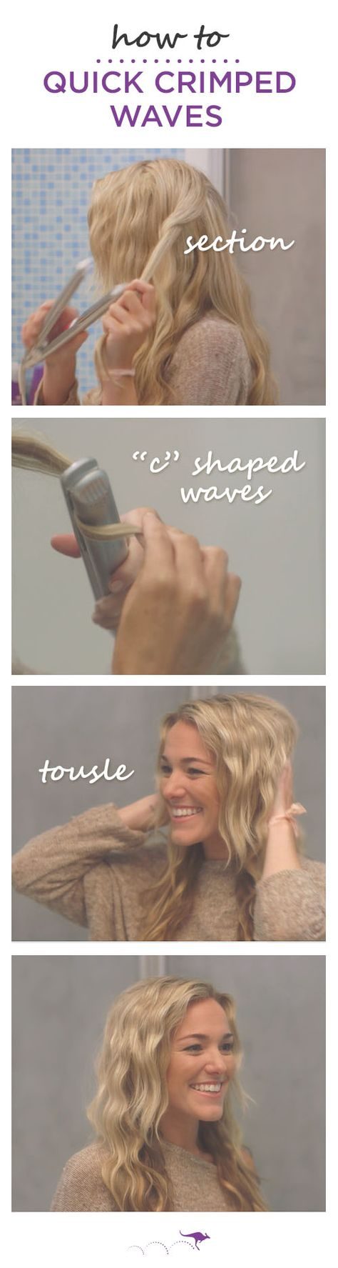 """How To: Quick Crimped Waves     Get those next-day-braid waves without the wait     1. Section hair starting from the bottom layer & clip back sections  •  2. Using a flat iron create alternating """"C"""" shaped waves, sliding the iron slowly down from root to tip  •  3. Once strands are crimped, tousle for added volume. And for fuller hair, use Aussie Aussome Volume Shampoo & Conditioner."""