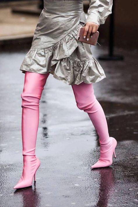 Pink Balenciaga Knife Boots at Paris Fashion Week F/W 2017 by ChrisSmart