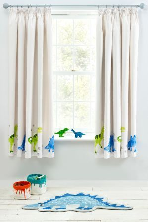 Next Ben The Dino Pencil Pleat Curtains