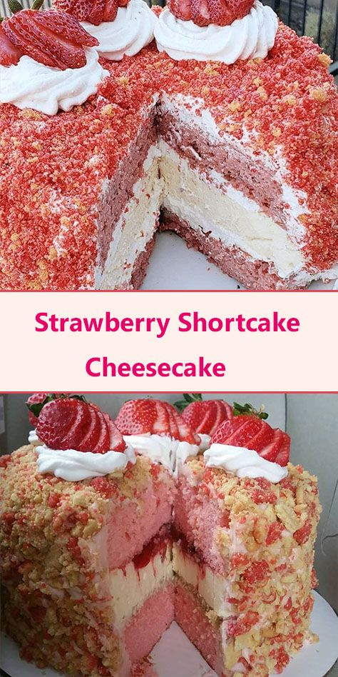 Strawberry Crunch Cake, Strawberry Shortcake Cheesecake, Homemade Strawberry Shortcake, Strawberry Dessert Recipes, Strawberry Whipped Cream Cake, Strawberry Cheesecake Cake Recipe, Cheesecake Pops, The Cheesecake Factory, Baked Strawberries