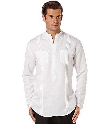 Cubavera Banded Collar 2-Pocket Linen-Blend Popover - Casual Button-Down Shirts - Men - Macy's
