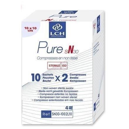 Lot De 60 Boites De 20 Compresses Pure Non Tisse Sterile 30g 10x10