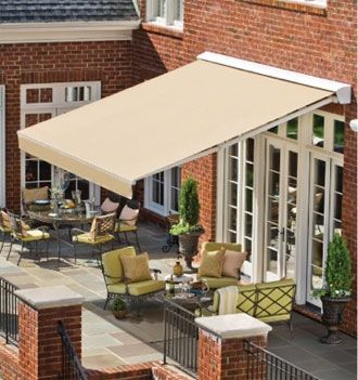 Awning From A Height Patio Design Outdoor Awnings Patio Awning