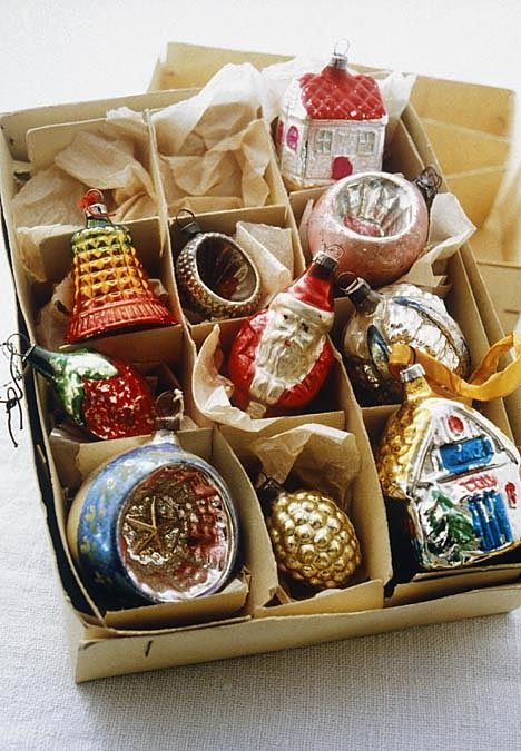 1930s Christmas Scenes | and colourful 1930s Christmas tree baubles made of…