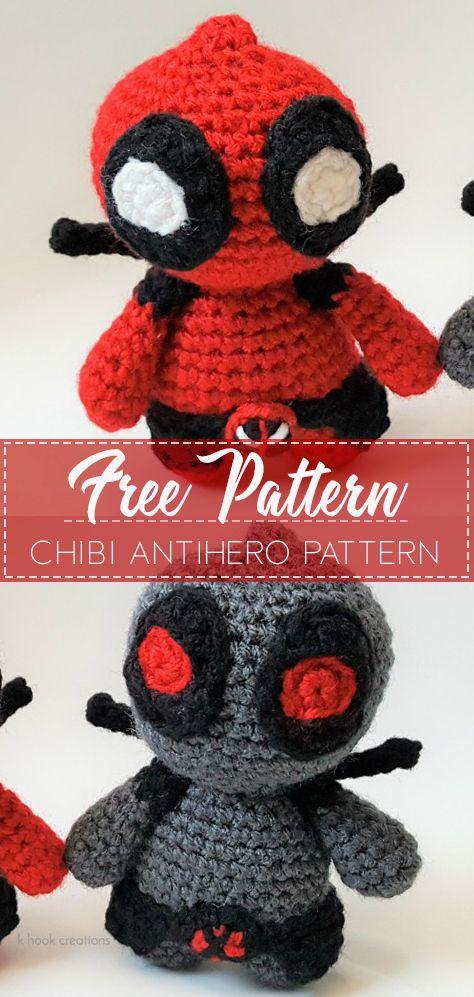 Marvel's Deadpool Doll Amigurumi Crochet Free Pattern | Tricot et ... | 997x474
