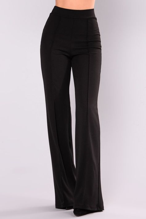 Pants - black high waisted slacks, dress slacks, black dress pants, pants o High Waisted Dress Pants, Black Dress Pants, Pants Outfit, Black Slacks Outfit, Women's Dress Pants, Black Pants Work, Black Skinnies, Women's Dresses, Looks Black