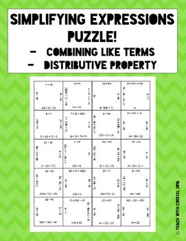 Simplifying Expressions Puzzle - Distributive Property and Combining ...