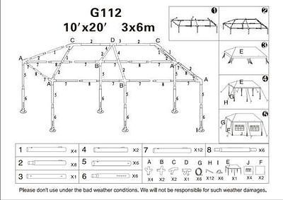 10X20 party tent Gazebo Outdoor replacement parts G112 G112