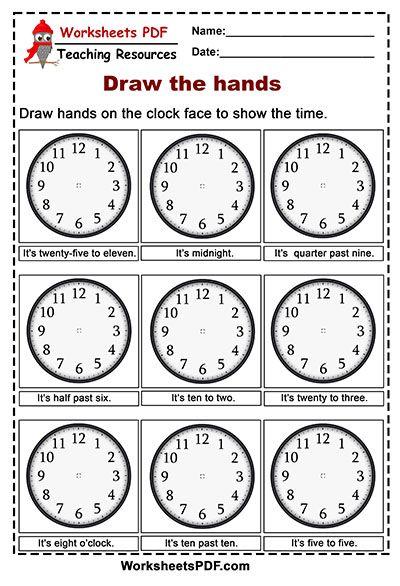 Draw The Hands On The Clock Clock Worksheets Time Worksheets Kids Math Worksheets Preschool telling time worksheets