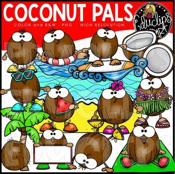 Coconut Pals Clip Art Set Educlips Clipart In 2021 Clip Art Art Set Flower On Head