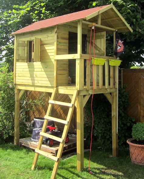 Spielhaus Baumhaus Aus Holz Bausatz Mit Ture Und Fensterladen