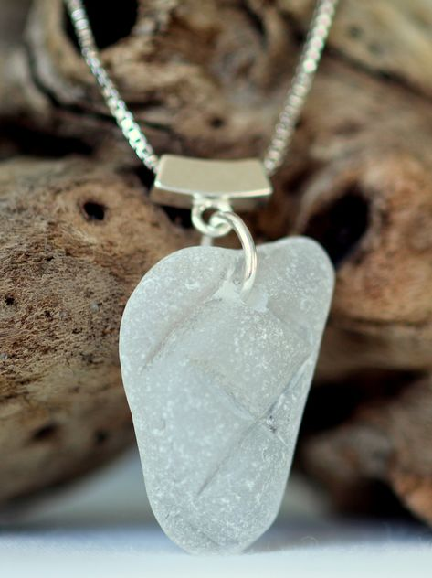 Mermaid's Tear sea glass necklace in frosty white