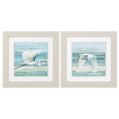 Propac Images Great Egret 2 Piece Framed Painting Print Set