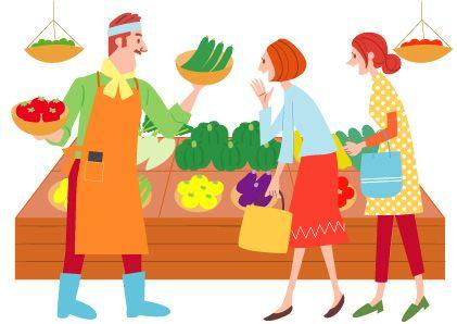 八百屋さん で野菜を買い物する主婦のかわいいイラスト かわいいイラスト イラスト イラストマップ