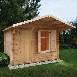 Shire 10 X 10 Ft Hopton Security Log Cabin With Shuttered Window Felt Roof Tiles Wooden Cabins Roof Shapes