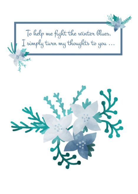 Winter Blues Floral Thinking Of You Card Ad Ad Blues Winter Floral Card Card Templates Free Online Greeting Cards Gift Card Template