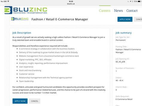 Fashion/Retail E-Commerce Website Manager London Jobad - jonathan