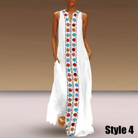 Butterfly Printed V Neck Maxi Dress Plus Size Summer Sundress