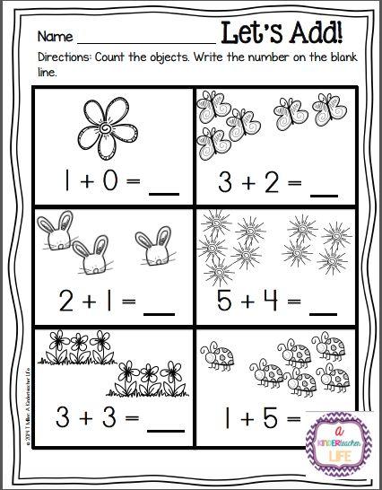 Pre-K Addition Worksheets | Worksheet: Addition to 10 - Flower theme ...