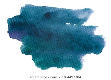 Watercolor Dark Blue Aquamarine Stain On White Background Isolated