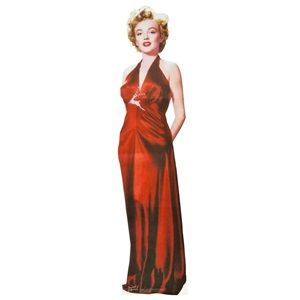 """Marilyn Monroe Cardboard Stand Up ~ Get ready to party with a Hollywood starlet! This almost-life size, licensed Marilyn Monroe cardboard stand up features the famous silver screen icon in her classic red dress. Place this 72"""" high cut out near the entrance to greet guests, use it as a fun photo prop, or just add a touch of glamour to your Prom, Homecoming or any school event."""