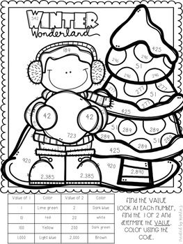 Place Value Color By Number Winter Themed Math Color Sheets Winter Theme Place Values
