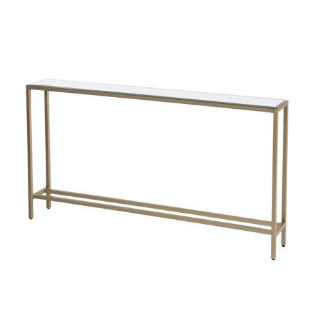 Derkkin Narrow Long Console Table W Mirrored Top Gold Walmart Com Narrow Console Table Skinny Console Table Console Table