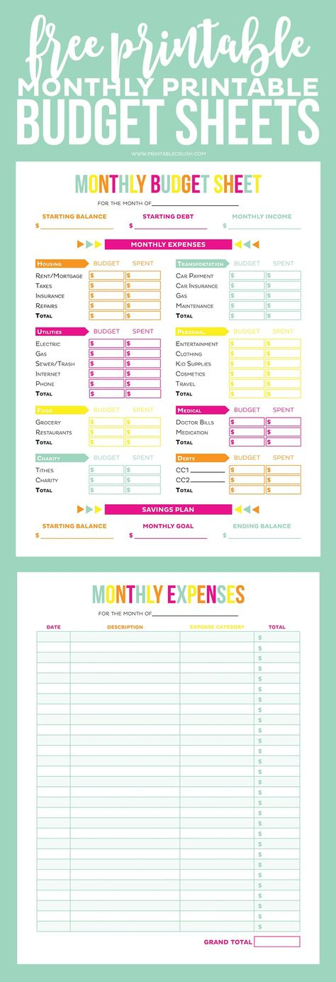 Free Printable Weekly Meal Planner  Printable Budget Sheets
