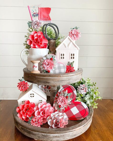 We all knew I wouldn't be able to hold off on redecorating my tiered tray for lo. Valentine Day Wreaths, Valentines Day Decorations, Valentines For Kids, Kitchen Tray, Irish Decor, Tier Tray, Holiday Crafts, Holiday Decor, Tiered Stand