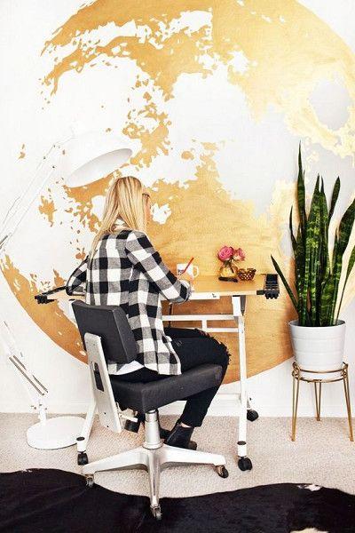 Gold Moon Wall - Big Wall Art Ideas - Photos