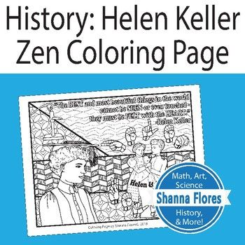 History Helen Keller Zentangle Coloring Page Deaf Blind Sign