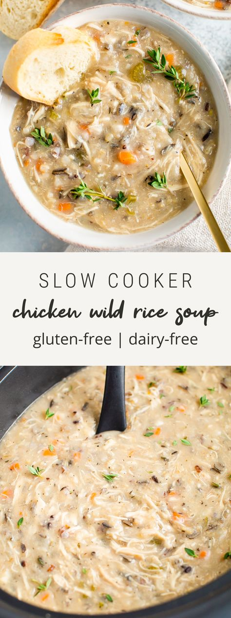 This healthy slow cooker chicken wild rice soup is creamy and comforting but still nourishing with lots of veggies shredded chicken and wild rice. Added bonus: its so easy to whip up gluten-free dairy-free. Slow Cooker Chicken Healthy, Slow Cooker Soup, Chicken Cooker, Healthy Chicken Soup, Vegan Slow Cooker, Dairy Free Soup, Lactose Free Soup Recipes, Gluten Free Recipes Slow Cooker, Health Slow Cooker Recipes