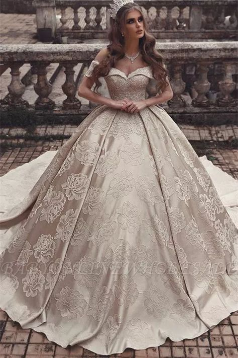 Elegant Off-The-Shoulder Strapless Ball-Gown Long Wedding Dress | www.babyonlinewholesale.com