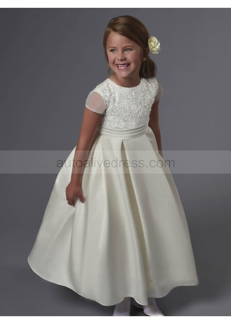 8792ca684 Short Sleeves Beaded Satin Tea Length Wedding Flower Girl Dress ...